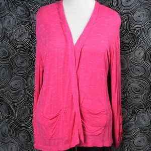 Sejour Pink Open Cardigan W/ Roll Tab Sleeves